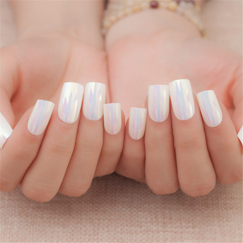 Online Shop High quality french light pink pure color false nails ...