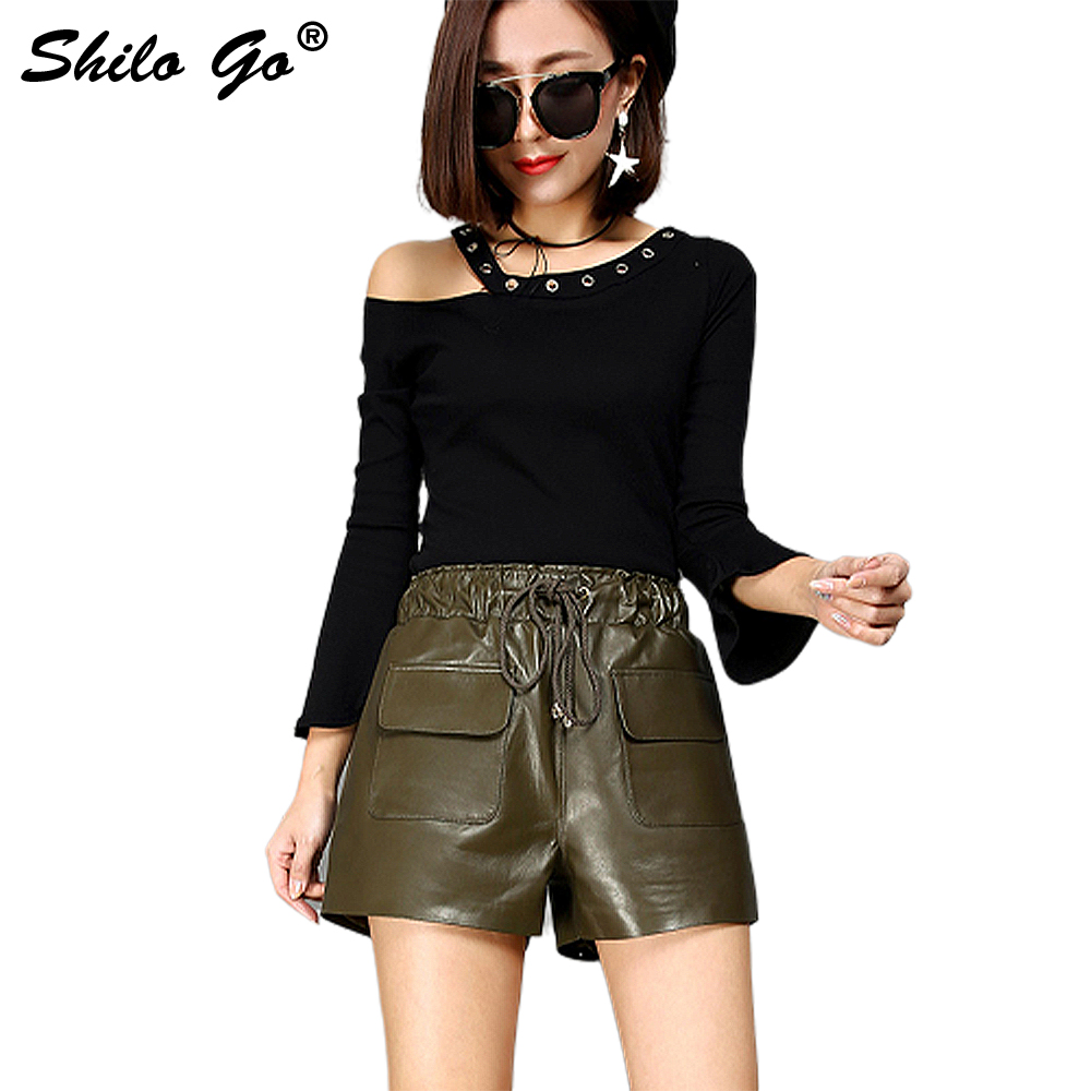 Leather Shorts Womens Autumn Fashion Sheepskin Genuine Leather Shorts Stretch Adjustable High Waist Front Pocket Shorts