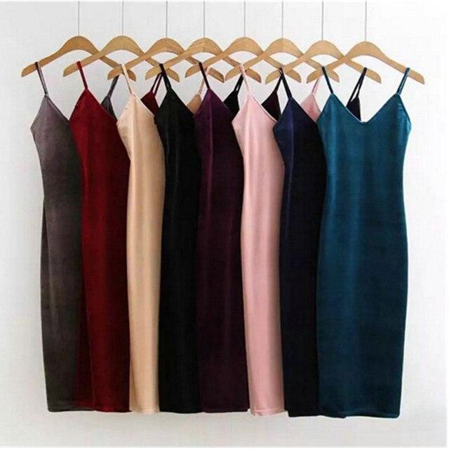 סקסי AA ללא משענת V צוואר שרוולים צד סדק קטיפה שמלת וינטג נשים BM רטרו Velour ארוך ספגטי רצועת בסיס שמלה 8 צבע