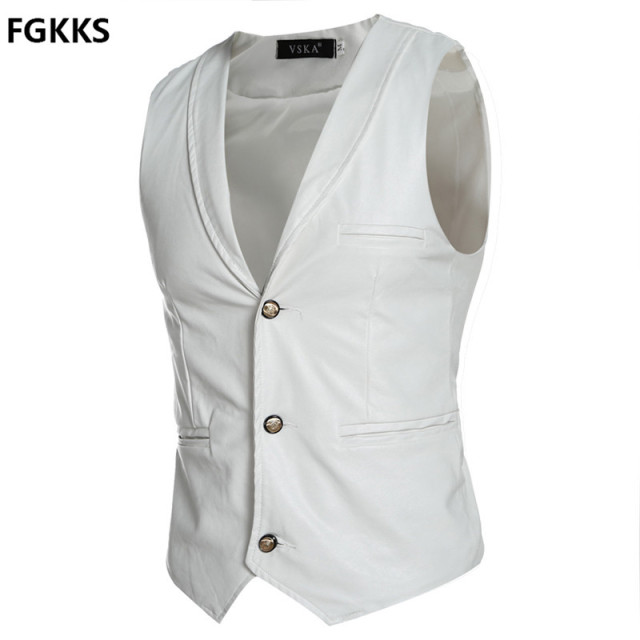 2016 New Arrival Brand Clothing Autumn Waistcoat Men Fashion Leather Vest Men Casual Slim Fit Men Vest Size M-2XL