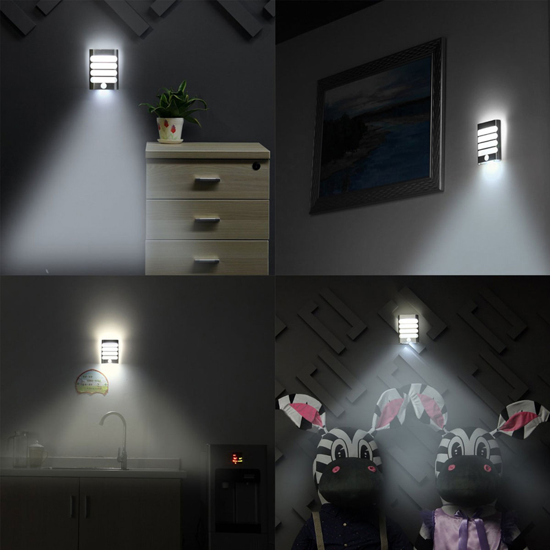 28a5fcd33252 Rechargeable Bathroom LED Wireless Wall Lamp Auto On/Off Night Light with Motion  Sensor Night for Kid Hallway Pathway Staircase