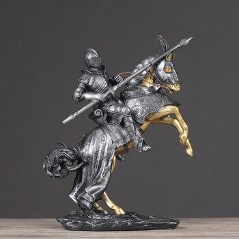 Resin Nordic Equestrian Warrior Model Living Room Decoration Retro Knight Home Office Bar Desktop Decoration Gift Toy