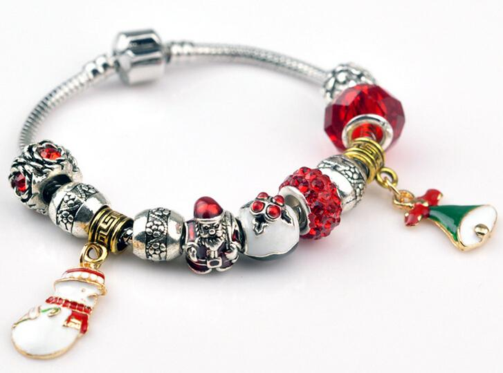 Hot silver plated jewelry creative temperament popular red glazed beads hanging snowman bracelets PA0183