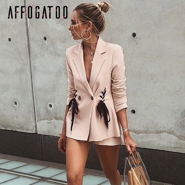 Affogatoo элегантный OL отложной воротник Женский блейзер на шнуровке розовый Блейзер костюм пальто пуговица 2018 зимняя куртка уличная верхняя одежда