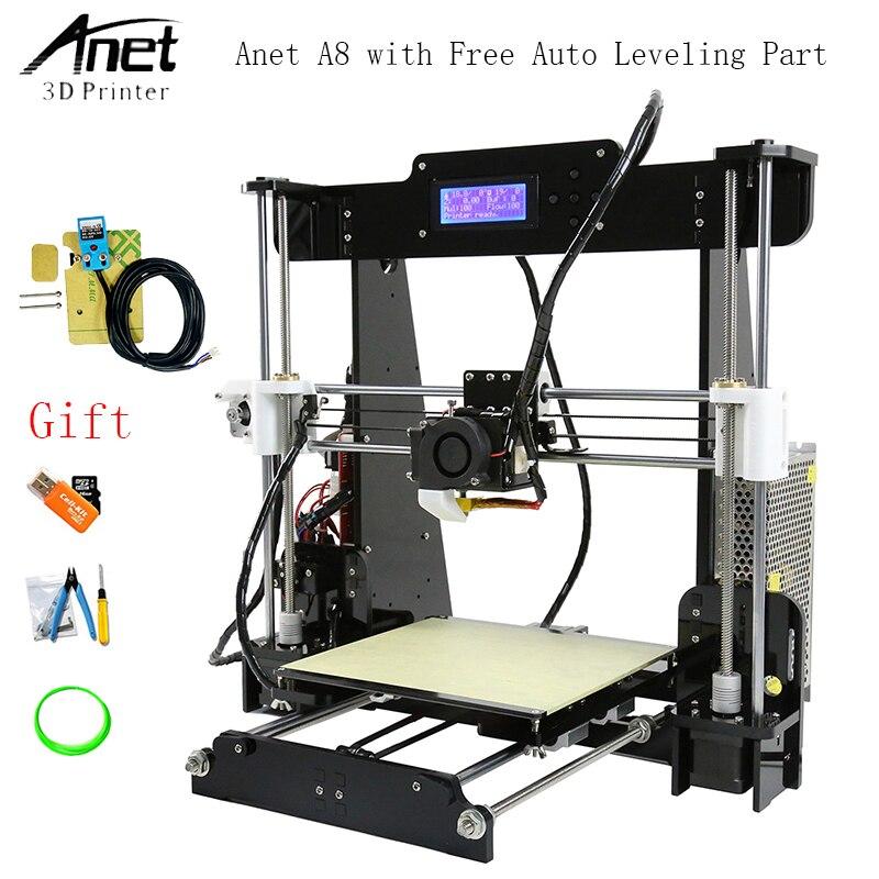 Anet A8 Auto Nivellement 3d Imprimante Améliorée Reprap i3 DIY 3D Imprimante Kit avec En Aluminium Plaque Chauffante et Livraison SD carte Filament