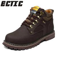 ECTIC 2018 Super Warm Men's Winter Leather Waterproof Rubber Snow Boots Leisure Boots England Retro   Shoes   For Men Big Size SE-10
