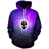 Plus Size 3xl 2017 Harajuku Hoodies Galaxy Space Colorful Wolf Lion Pug 3D Print Hooded Sweatshirts