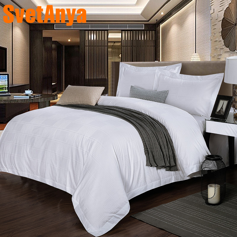 Svetanya Jacquard Cotton Bedding Set White Hotel Flat or Fitted Bedsheet Pillowcase and Duvet Cover Sets