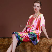 NEW Summer Women China Satin Silk Pajamas Set of Sleep Shirt & Shorts Lady Nightdress Female Home Women Sleep & Lounge Sleepwear