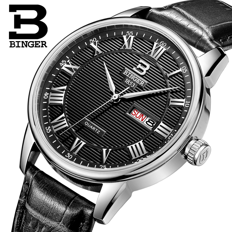 jojo watch promotion shop for promotional jojo watch on aliexpress com genuine swiss binger brand men quartz leather strap watch male parallel lines waterproof shipping