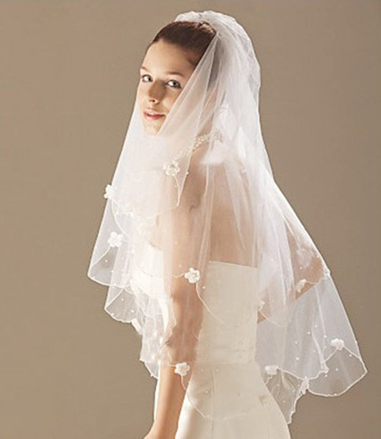 Handmade Fingertip length 2 Layers White Ivory Flowers Wedding Veil Bridal Accessories Veils With Comb For Bride
