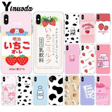 Yinuoda Summer Cute Strawberry Milk DIY Printing Drawing Phone Case cover Shell for iPhone 8 7 6 6S Plus X XS MAX 5 5S SE XR