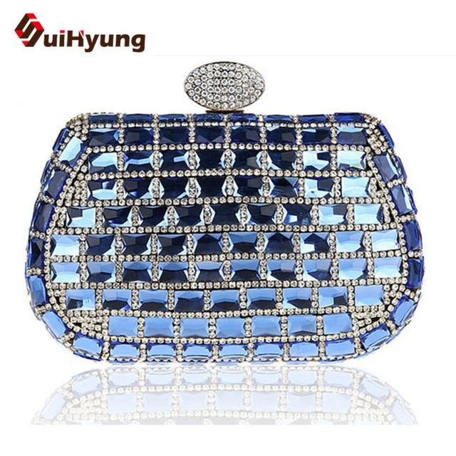 Free Shipping New Luxury Crystal Wedding Small Clutch Party Evening Bag Full Diamond Women's Handbag Ladies Day Clutch Crossbody