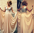 Champagne Bridesmaid Dresses 2016 Cheap A Line Cap Sleeve Chiffon Bridesmaid Dress with Sequins