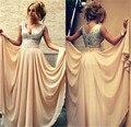 Champagne Dama de Honor Vestidos 2016 Barato Una Línea Cap Manga Gasa Vestido de Dama de honor con Lentejuelas