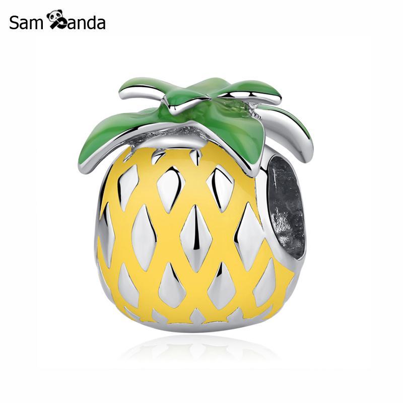 Authentique 100% 925 argent Sterling perle breloque été Tropical breloques ananas palmier idéal pour bracelet femmes bijoux à bricoler soi-même