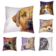 Clever Dog Dog Pattern Cushion Cover Polyester Peach Skin Golden Retriever Chow Pomeranian Labrador Cute Style Pillow Decoration(China)