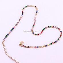 CZ tennis chain necklace women choker Rainbow Zirconia trendy Adjustable Chain for women, 5PCS