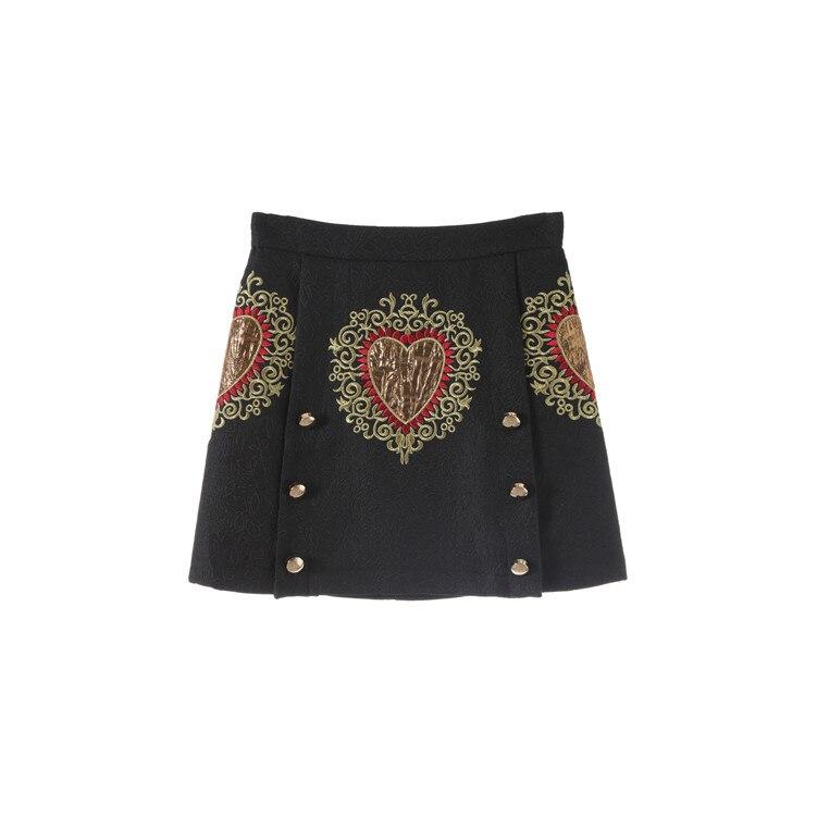 Nouveau noir jacquard jupes motif foncé broderie double boutonnage amour un mot jupe jupe F0858