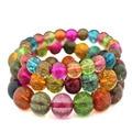 Handmade Colorful blasting crack Quartz Crystal Bracelets Natural Stone Lava Round Beads Elasticity Rope Hand Strings Jewelry