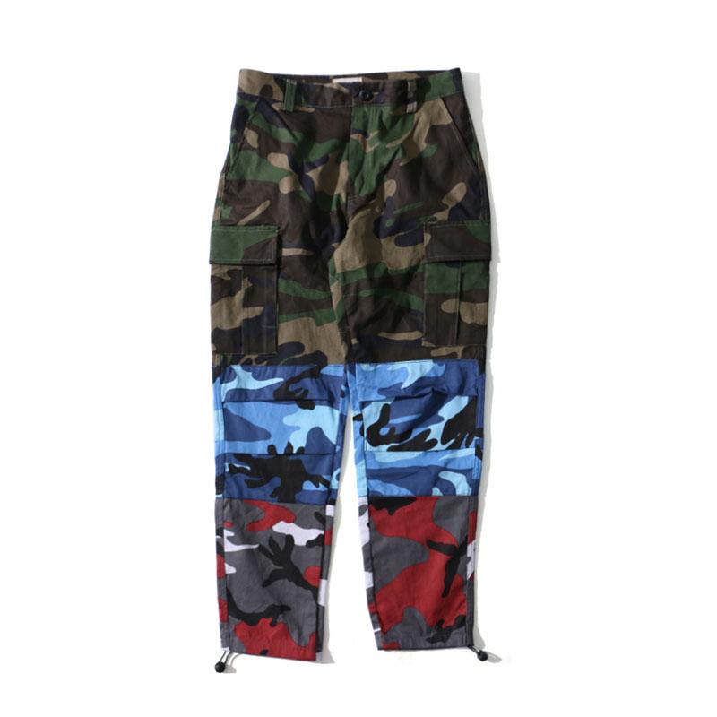 Tri Color Camo Patchwork Cargo Pants 5