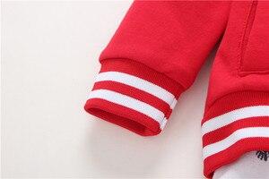Image 4 - 2020 חדש אדום ילד בגדי 100% כותנה מעיל + מכנסיים + תינוק romper סתיו חורף סטי 6 ~ 24 חודשים בגד גוף תינוקות בני סטי בגדים