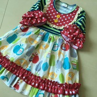 Novel Flare Sleeves And Fruit Ruffle Style 100 Cotton And With A Bib And Present Of