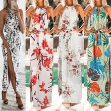 Vestidos de verano модное женское платье с цветочным принтом в стиле бохо, длинное платье макси без рукавов для вечеринки, летнее пляжное платье W619