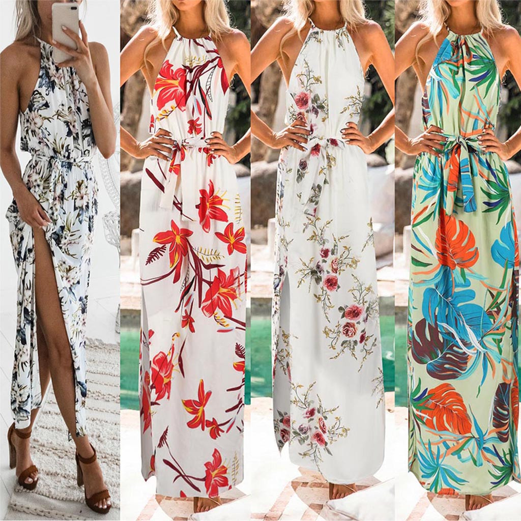 Vestidos De Verano 2019 Fashion Women Print Boho Floral Long Maxi Dress Sleeveless Evening Party Summer Beach Sundress Robe W619