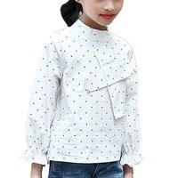 Studenten Weißen Blusen Für Mädchen Kleidung Baumwolle Polka Dot Shirts Für Kinder Tops 4 5 7 9 11 12 Jahre Herbst Kinder Schule Bluse