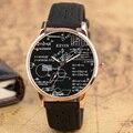Venda quente Fórmula Matemática Discar Sipmle Equação Geometria Cinta de Couro Banda Relógio de Pulso Projeto Especial Relógios Para Presente