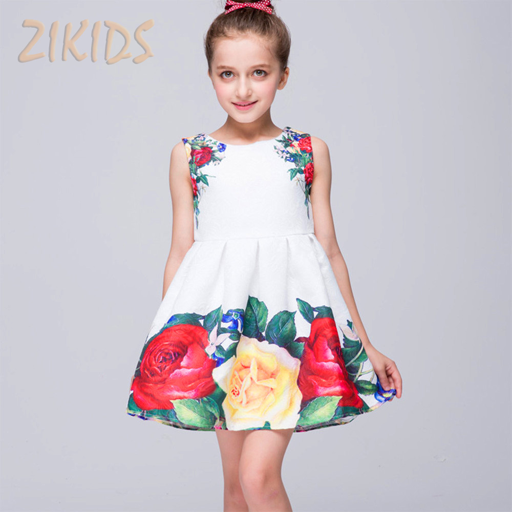 High Quality Girls Summer Dress Casual Print Flowers ...