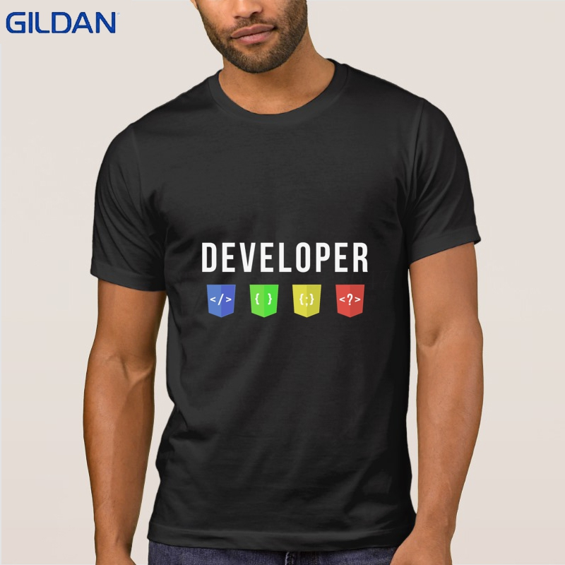 Developer Web Tshirt Designs Unique T-Shirt For Men Basic Solid New Camisa Awesome Men T Shirt 100% Cotton Anti-Wrinkle