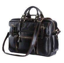 цена на Free Shipping Hot Sale High Quality Crazy Horse Leather Black Color Men Travel Bags Handbags Shoulder Bags Messenger Bags #7028A