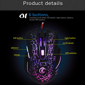 Image 2 - HXSJ A904 LED Backlit Gaming Mouse USB Wired Mouse Adjustable 5500 DPI 6 Buttons optical Mouse for PC Laptop LOL DOTA Game