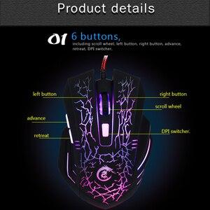 Image 2 - HXSJ A904 עם תאורה אחורית LED משחקים חוטית USB עכבר מתכוונן 5500 DPI 6 לחצנים עכבר אופטי למחשב נייד מחשב LOL DOTA משחק