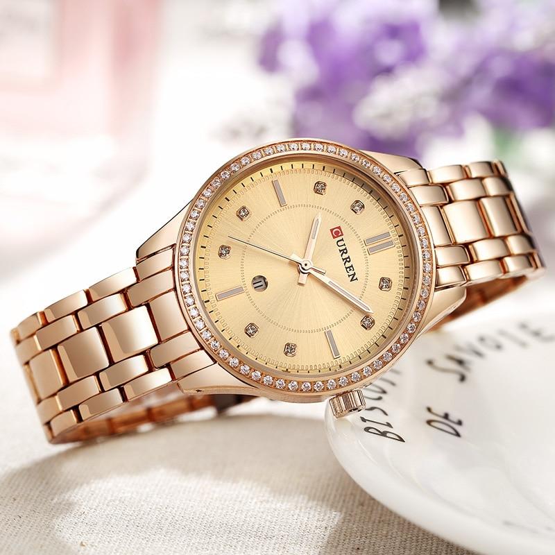 CURREN Women Watches Top Brand Luxury Blue Dial Steel Gold Watches Women Bracelet Watch Ladies Quartz Watch Relogio Feminino цены