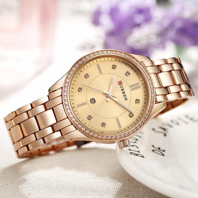 CURREN Women Watches Top Brand Luxury Blue Dial Steel Gold Watches Women Bracele
