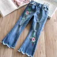 3-8 jahre Großhandel 2018 Baby Mädchen Stickerei Hosen Kinder Denim Mode Frühjahr Jeans