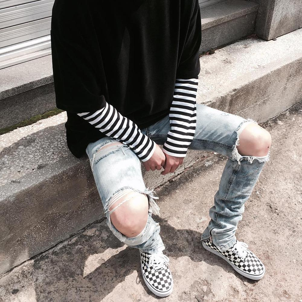 19ss New Hip Hop Justin Bieber Slim Fit Knee Slit Ripped Biker Jeans Ankles Zipper Fly Jeans Streetwear Jeans Sweatpants