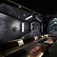 Free Shipping 3D science fiction spaceship mural living room sofa TV background wall coffee house bedroom lobby wallpaper mural