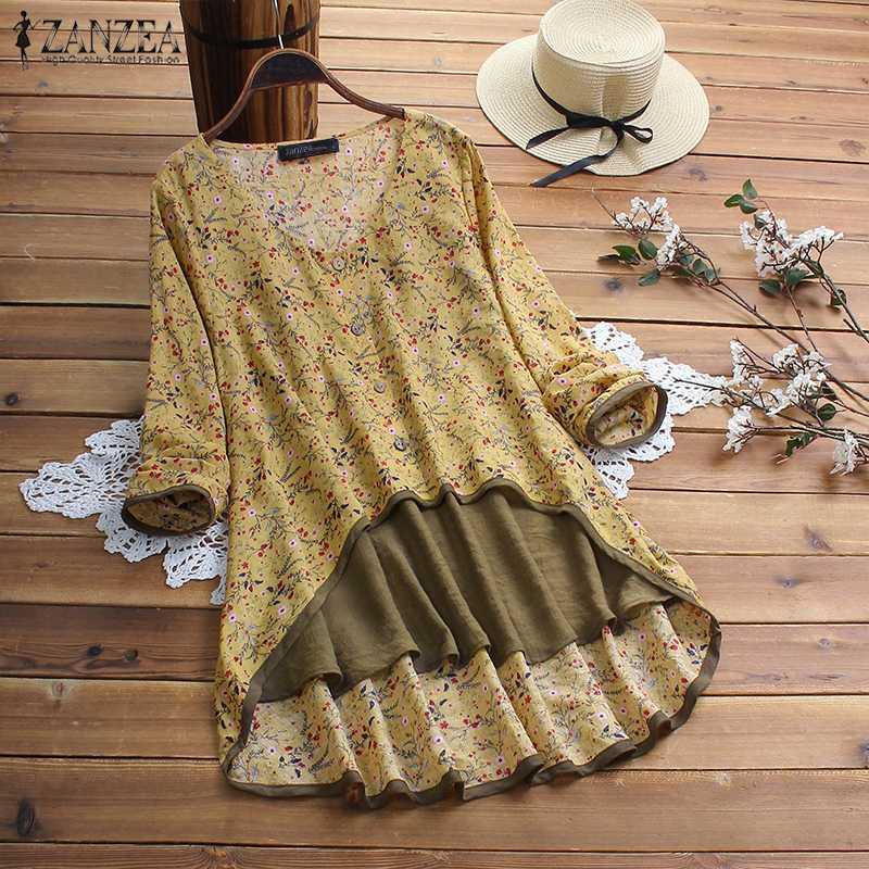 2020 Women's Summer Blouse ZANZEA Vintage Asymmetrical Tops Casual Long Sleeve Printed Shirts Female Fake Two Pieces Blusa Tunic