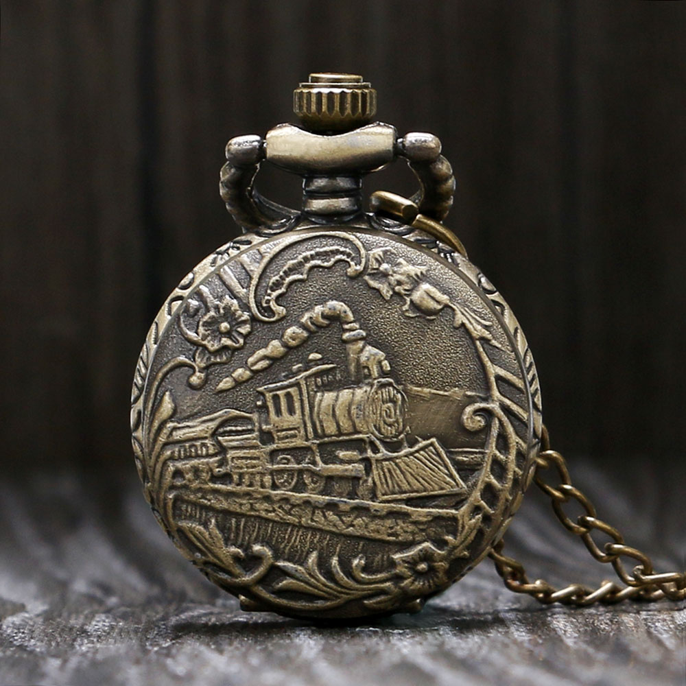 Fashion Cool Retro Bronze 3D Locomotive Design Quartz Small Size Pocket Watch With Sweater Necklace Chain Gift To Girls