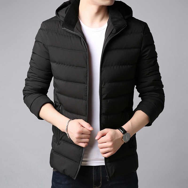 2018 новая зимняя Модная брендовая куртка мужская Корейская стеганая куртка  уличная парка с капюшоном Slim Fit 4953d33dfab