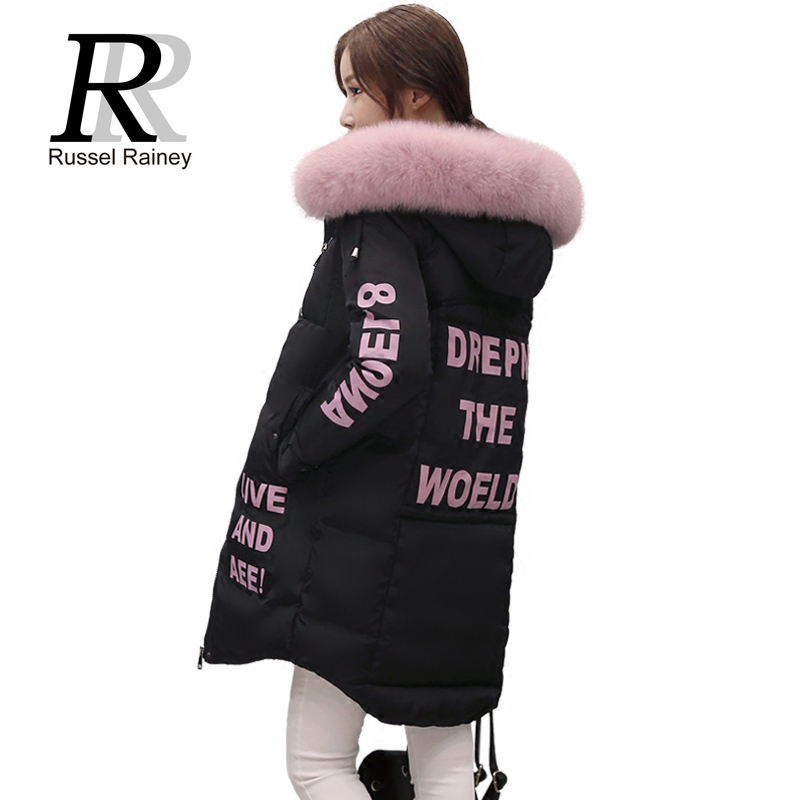 RR 2016 Long Women Down Cotton Coat Outerwear New Winter Lady Faux Fur Collar Hooded Thick Warm Cotton-padded Jacket Female Coat