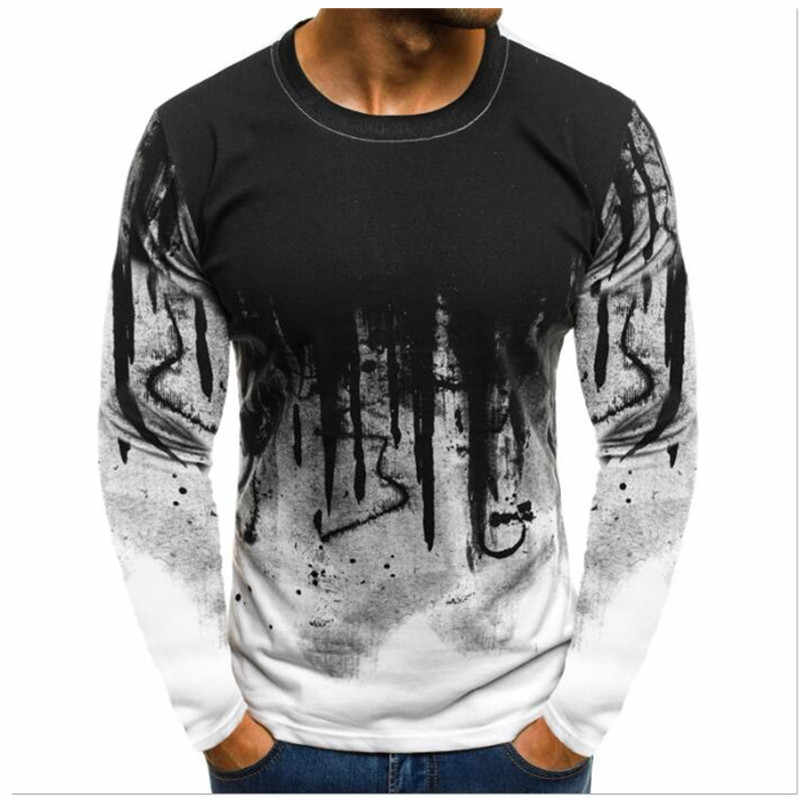 Men Camouflage Printed Male T Shirt Bottoms Top Tee Male Hiphop Streetwear Long Sleeve Fitness Tshirts Dropshipping