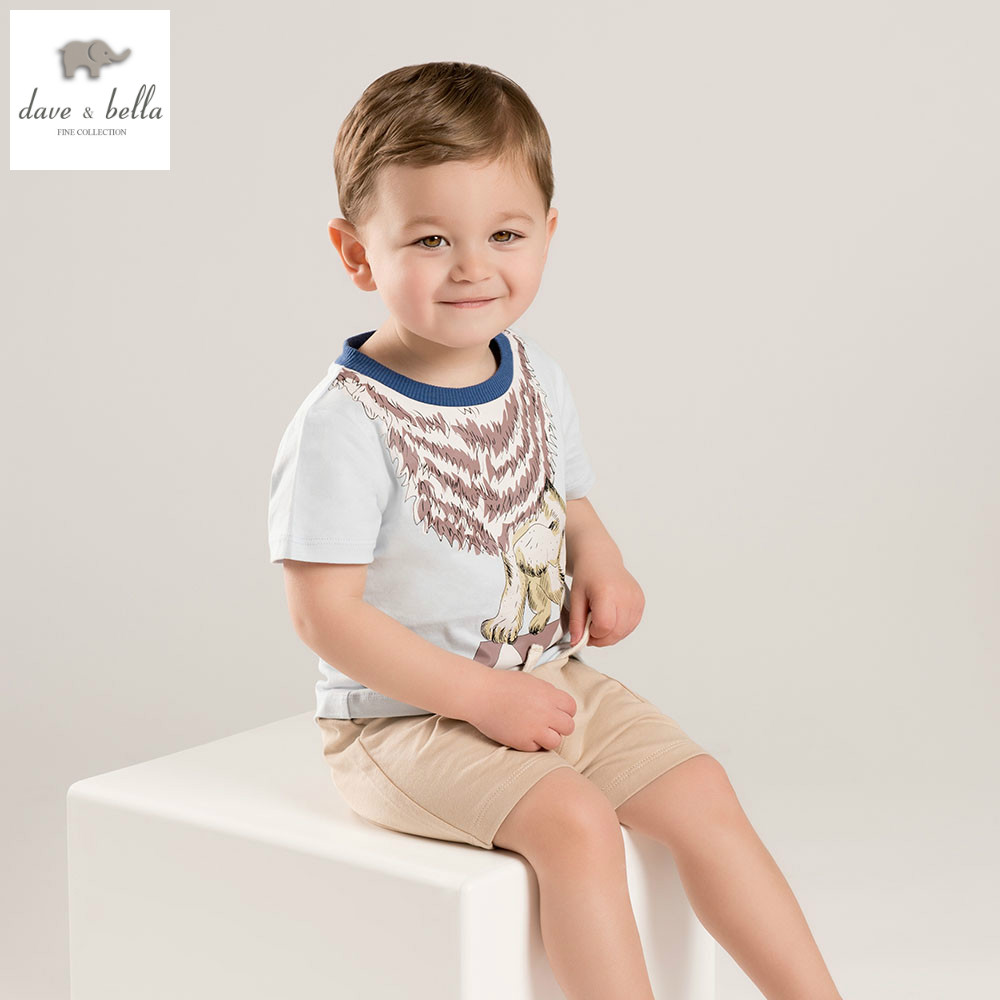 DB5876 dave bella summer baby boys clothing sets kids lion printed set child infant clothes children set baby handsome costumes