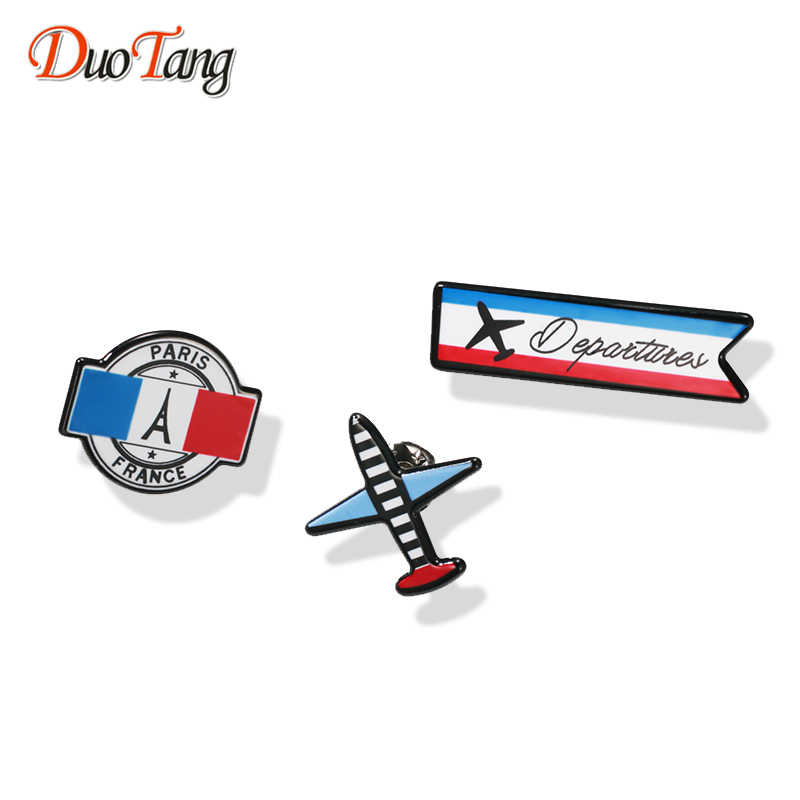 DuoTang Aircraft Vintage Enamel Brooches France Paris Eiffel Tower for Women Zinc Alloy Pins Jewelry Accessories Gift Z0107