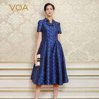 VOA 2017 Summer Dark Blue Elegant Vintage Silk Jacquard Party Dress Chinese Style Pearl Buckle High