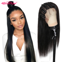 Wonder girl 250 Density 360 Lace Frontal Wig Pre Plucked Remy Peruvian Straight Lace Front Human Hair Wigs For Black Women